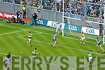 Kerry v Kevin McManamon Dublin has his shot for goal saved in the All Ireland Senior Football Final 2011 in Croke Park on Sunday 18th September 2011.