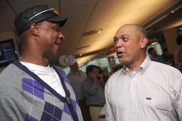 Daryl Strawberry and Reggie Jackson at BTIG's 9th annual Commissions for Charity day on April 27, 2011 in New York City. Credit: Dennis Van Tine/MediaPunch