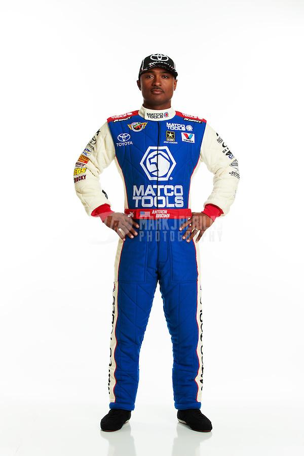 Jan 16, 2014; Palm Beach Gardens, FL, USA; NHRA top fuel driver Antron Brown poses for a portrait. Mandatory Credit: Mark J. Rebilas-