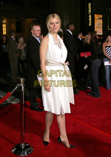 """GWYNETH PALTROW.Paramount Pictures World Premiere of """"Sky Captain and the World of Tomorrow"""" held at The Mann's Chinese Theatre in Hollywood, California .September 14th, 2004.full length, white halterneck dress, ribbon, black heels.www.capitalpictures.com.sales@capitalpictures.com. Copyright 2004 by Eastman"""