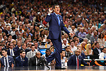 SAN ANTONIO, TX - APRIL 02: Head coach Jay Wright of the Villanova Wildcats reacts in the 2018 NCAA Men's Final Four National Championship game against the Michigan Wolverines  at the Alamodome on April 2, 2018 in San Antonio, Texas.  (Photo by Jamie Schwaberow/NCAA Photos via Getty Images)