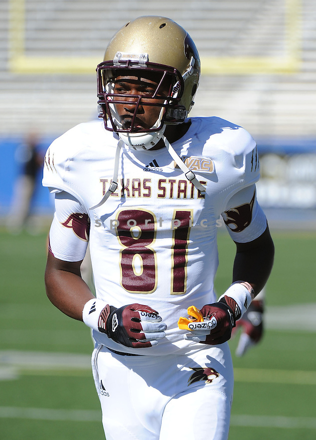 Texas State Bobcats Brandon Smith (81) in action during a game against San Jose State on October 27, 2012 at Spartan Stadium in San Jose, CA. San Jose State beat Texas State 31-20.