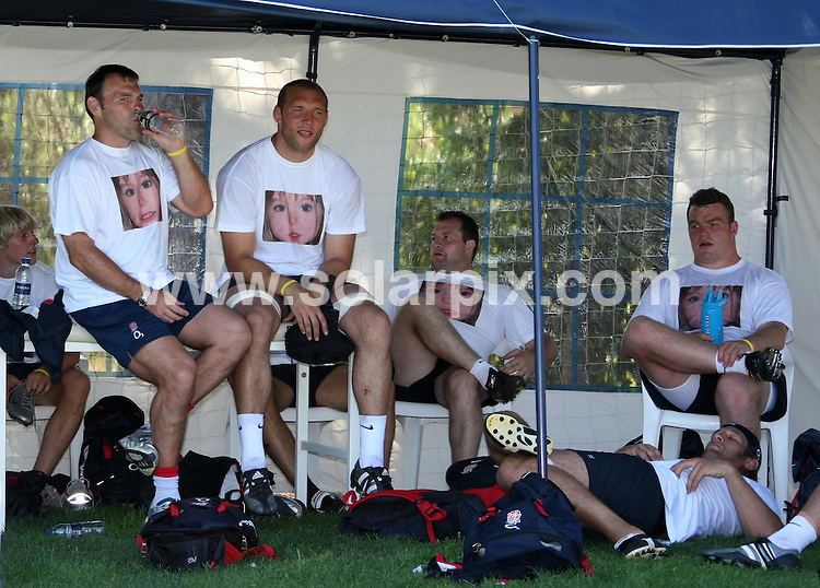 **ALL ROUND PICTURES FROM SOLARPIX.COM**.**WORLDWIDE SYNDICATION RIGHTS**.The England Rugby squad training in Portugal at Vilamoura today the team were wearing find Madeleine T shirts to support the campaign of Kate and Gerry McCann to find their daughter. .This pic:ENGLAND SQUAD.JOB REF:4217-EBR        DATE:04_07_07.**MUST CREDIT SOLARPIX.COM OR DOUBLE FEE WILL BE CHARGED* *UNDER NO CIRCUMSTANCES IS THIS IMAGE TO BE REPRODUCED FOR ANY ONLINE EDITION WITHOUT PRIOR PERMISSION*