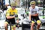 Tour winner Yellow Jersey Chris Froome (GBR) and Luke Rowe (WAL) Team Sky celebrate at the start of Stage 21 of the 104th edition of the Tour de France 2017, an individual time trial running 1.3km from Montgeron to Paris Champs-Elysees, France. 23rd July 2017.<br /> Picture: ASO/Alex Broadway | Cyclefile<br /> <br /> <br /> All photos usage must carry mandatory copyright credit (&copy; Cyclefile | ASO/Alex Broadway)