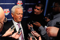 New York Red Bulls head coach Hans Backe is interviewed on Media Day at Red Bull Arena in Harrison, NJ, on March 15, 2011.