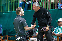 Brandon Grace (RSA) speaking to Gary Player during the first round at the Nedbank Golf Challenge hosted by Gary Player,  Gary Player country Club, Sun City, Rustenburg, South Africa. 08/11/2018 <br /> Picture: Golffile | Tyrone Winfield<br /> <br /> <br /> All photo usage must carry mandatory copyright credit (&copy; Golffile | Tyrone Winfield)