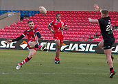 10th February 2019, AJ Bell Stadium, Salford, England; Betfred Super League rugby, Salford Red Devils versus London Broncos; Jackson Hastings of Salford Red Devils atempts a drop goal kick that was unsuccessful