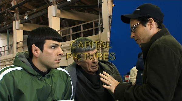 Star Trek (2009)<br /> Behind the scenes photo of Zachary Quinto, Leonard Nimoy &amp; J J Abrams <br /> *Editorial Use Only*<br /> CAP/NFS<br /> Image supplied by Capital Pictures