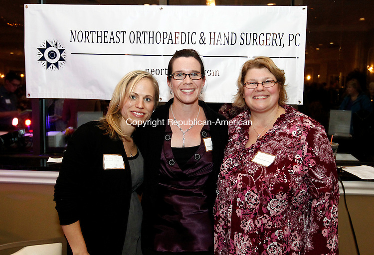 Waterbury, CT- 14 November 2014-111414CM14- Social moments---  Left to right, Lori Algar, Rebecca Sauve and Becky Zielinski from Northeast Orthopaedic and Hand Surgery of Waterbury, photographed during Ladies Night Out, a benefit for Easter Seals at La Bella Vista, Pontelandolfo Club in Waterbury on Friday night.    Christopher Massa Republican-American