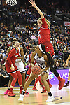 COLUMBUS, OH - MARCH 30: Victoria Vivians #35 of the Mississippi State Bulldogs looks for an open shot as Kylee Shook #21 of the Louisville Cardinals tries to block the ball during a semifinal game of the 2018 NCAA Division I Women's Basketball Final Four at Nationwide Arena in Columbus, Ohio. (Photo by Justin Tafoya/NCAA Photos via Getty Images)