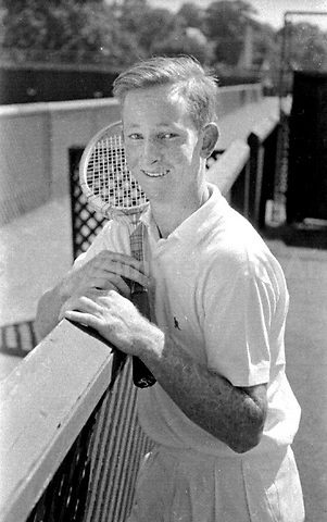 Portrait of 18 year old Australian tennis player Rod Laver at the West Side Tennis Club, Forest Hills, New York, 1956. Photograph by John G. Zimmerman