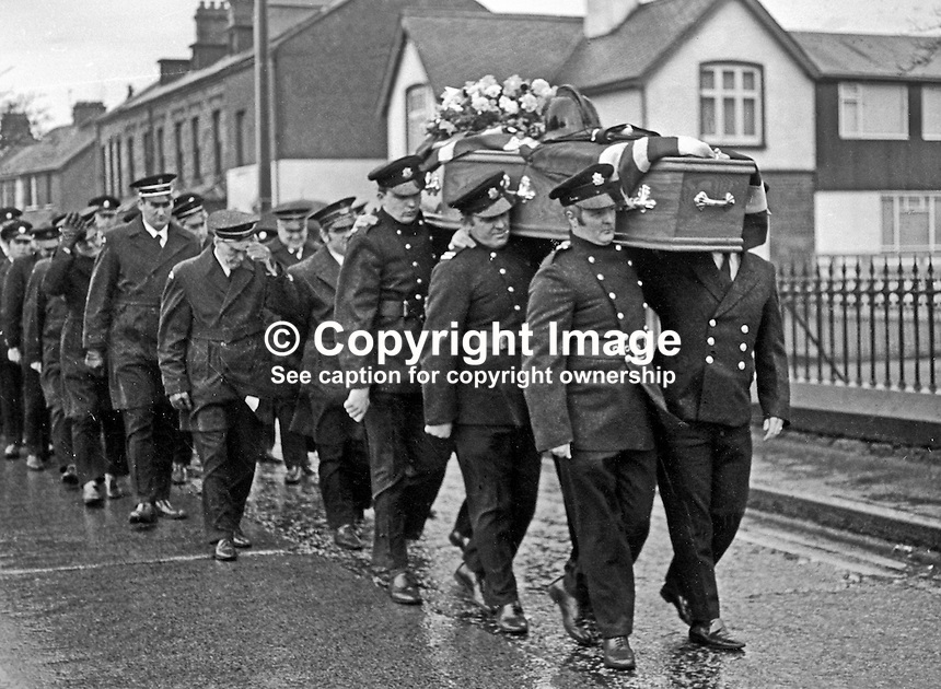 Funeral of 23 year old Fireman Brian Douglas who was shot dead by the UDA/UFF whilst attending a blaze near the junction of Sandy Row and Lisburn Road in South Belfast. The killing was one of four during a one day general strike on 7th February 1973. Colleagues carry his coffin with his fireman's helmet on top. The funeral was attended by firemen colleagues from all over N Ireland. 197302100085a<br />