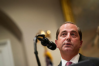 "United States Secretary of Health and Human Services (HHS) Alex Azar, speaks during an event about prescription drug pricing at the White House in Washington, D.C., U.S. on Friday, Nov. 15, 2019. Trump said that his initiatives to bring transparency to drug and hospital pricing are an example of how his administration is making progress while Democrats continue their ""witch hunt.""<br /> Credit: Alex Edelman / Pool via CNP/AdMedia"