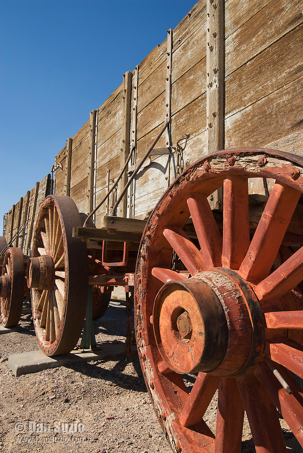 "Original ""twenty-mule team"" borax wagon at Harmony Borax Works, Death Valley National Park, California. Borax was refined here between 1883 and 1888, employing 40 men, mostly Chinese immigrants, to produce up to three tons of borax per day."