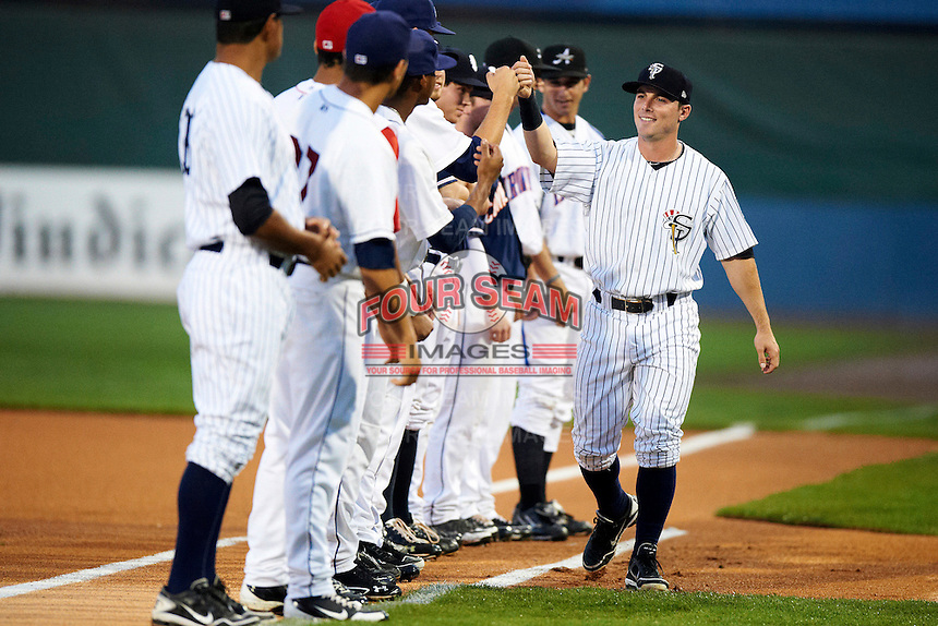 Staten Island Yankees outfielder Taylor Dugas #59 during introductions before the NY-Penn League All-Star Game at Eastwood Field on August 14, 2012 in Niles, Ohio.  National League defeated the American League 8-1.  (Mike Janes/Four Seam Images)