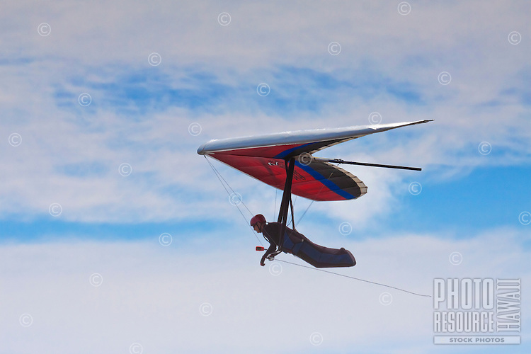 Close-up of a hang glider over O'ahu.