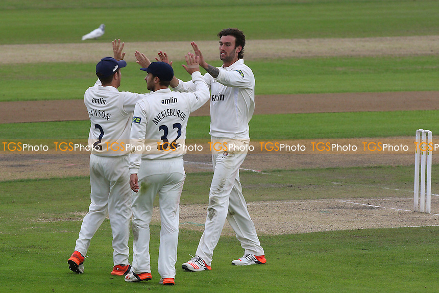 Reece Topley of Essex celebrates taking the wicket of Jordan Clark - Lancashire CCC vs Essex CCC - LV County Championship Division Two Cricket at Emirates Old Trafford, Manchester - 08/07/15 - MANDATORY CREDIT: Gavin Ellis/TGSPHOTO