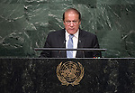His Excellency Muhammad Nawaz Sharif, Prime Minister of the Islamic Republic of Pakistan   <br /> General Assembly Seventieth session 9th plenary meeting: High-level plenary meeting of the (6th meeting)