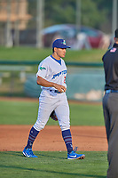 Zac Ching (25) shortstop of the Ogden Raptors during the game against the Grand Junction Rockies at Lindquist Field on August 28, 2019 in Ogden, Utah. The Rockies defeated the Raptors 8-5. (Stephen Smith/Four Seam Images)