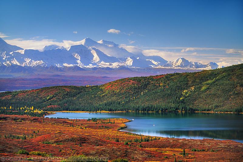 Canoers paddle Wonder Lake, Autumn Alaska Range, Denali National Park, Alaska