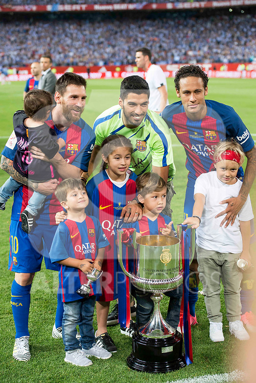 FC Barcelona's forward Leo Messi, forward Luis Suarez and forward Neymar Santos Jr during Copa del Rey (King's Cup) Final between Deportivo Alaves and FC Barcelona at Vicente Calderon Stadium in Madrid, May 27, 2017. Spain.<br /> (ALTERPHOTOS/BorjaB.Hojas)