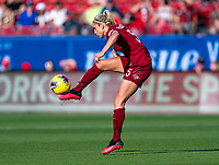 FRISCO, TX - MARCH 11: Stephanie Houghton #5 of England controls the ball during a game between England and Spain at Toyota Stadium on March 11, 2020 in Frisco, Texas.