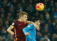 AS Roma's Lucas Digne Napoli's Elseid Hysaj during the  italian serie a soccer match,between SSC Napoli and AS Roma       at  the San  Paolo   stadium in Naples  Italy ,December 13, 2015