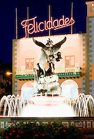 Spain, Canary Islands, La Palma, Tazacorte: fountain at centre and christmas illumination