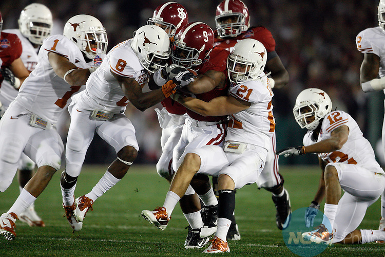 07 JAN 2010:  Trent Richardson (3) of the University of Alabama rushes against the University of Texas during the BCS National Championship held at the Rose Bowl in Pasadena, CA.  Alabama defeated Texas 37-21 for the national title. Jamie Schwaberow/NCAA Photos