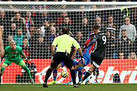 3rd November 2019; Selhurst Park, London, England; English Premier League Football, Crystal Palace versus Leicester City; Jamie Vardy of Leicester City  shoots and scores for 0-2 in the 88th minute - Strictly Editorial Use Only. No use with unauthorized audio, video, data, fixture lists, club/league logos or 'live' services. Online in-match use limited to 120 images, no video emulation. No use in betting, games or single club/league/player publications