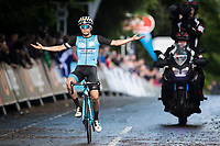 Picture by Alex Whitehead/SWpix.com - 27/05/2017 - Cycling - Tour Series Round 9, Durham - Ph-MAS Paul Milnes/Oldfield ERT's Tom Pidcock celebrates the win.