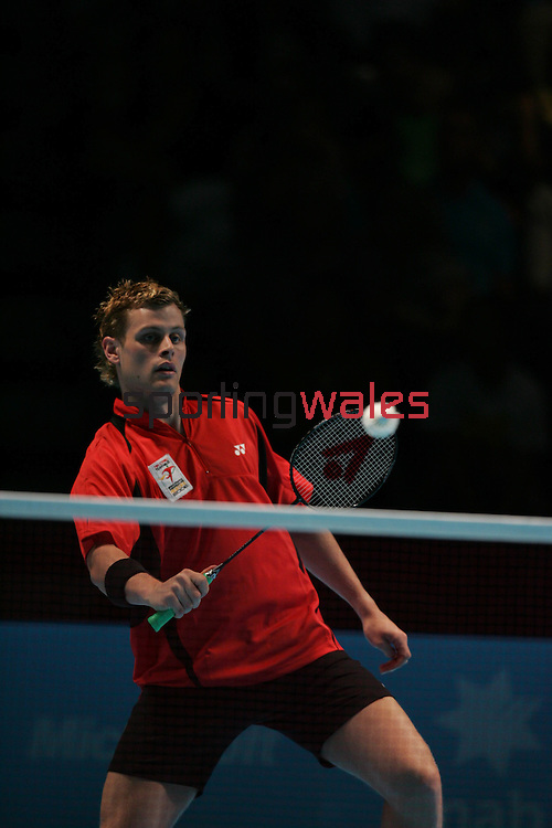 Commonwealth Games Badminton.Wales v Trinidad.Matthew Hughes and Martyn Lewis v  Darron Charles and Rahul Rampersad.Melbourne Exhibition Centre.Melbourne.21.03.06.©Steve Pope.Steve Pope Photography.The Manor .Coldra Woods.Newport.South Wales.NP18 1HQ.07798 830089.01633 410450.steve@sportingwales.com.
