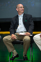 Matt Swierad, radio voice of the Charlotte Knights, emcees  the Triple-A All-Star Game Luncheon at the Charlotte Convention Center on July 12, 2016 in Charlotte, North Carolina.   (Brian Westerholt/Four Seam Images)