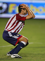 Chivas USA forward Ante Rozov (9) reacts to narrowly missing a goal in the second half. CD Chivas USA beat Real Salt Lake 1-0 in a MLS game at the Home Depot Center in Carson, California, Sunday, August 26, 2007.