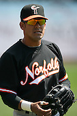 May 9, 2009:  Right Fielder Oscar Salazar of the Norfolk Tides, International League Class-AAA affiliate of the Baltimore Orioles, in the field during a game at Coca-Cola Field in Buffalo, FL.  Photo by:  Mike Janes/Four Seam Images