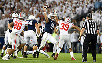 STATE COLLEGE, PA - SEPTEMBER 29: Penn State QB Trace McSorley (9) throws while being pressured by Ohio State LB Malik Harrison (39). The Ohio State Buckeyes defeated the Penn State Nittany Lions 27-26 on September 29, 2018 at Beaver Stadium in State College, PA. (Photo by Randy Litzinger/Icon Sportswire)