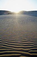 New Zealand, North Island, Te Paki, sunset over sand dunes.