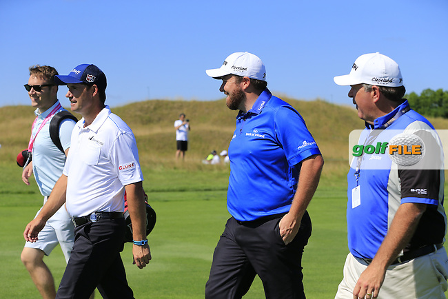 Padraig HARRINGTON and Shane LOWERY (IRL) enjoy the banter on the 1st hole during Tuesday's Practice Day of the 97th US PGA Championship 2015 held at Whistling Straits, Mosel, Kohler, Wisconsin, United States of America. 11/08/2015.<br /> Picture Eoin Clarke, www.golffile.ie
