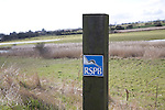 RSPB sign on wooden post Boyton marshes, Suffolk