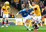 Motherwell v St Johnstone&hellip;20.10.18&hellip;   Fir Park    SPFL<br />Murray Davidson is tackled by Charles Dunne<br />Picture by Graeme Hart. <br />Copyright Perthshire Picture Agency<br />Tel: 01738 623350  Mobile: 07990 594431