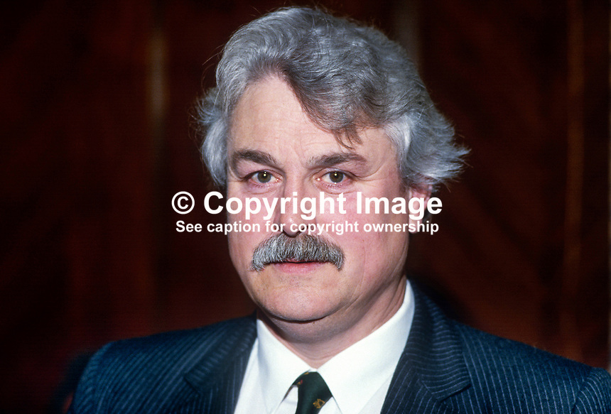 Ken Maginnis, Ulster Unionist, candidate, UK Parliamentary by-elections, January 1986. He was one of 15 sitting Unionist MPs, Official, Democratic & Popular, who resigned in protest at the signing of the Anglo-Irish Agreement. As a result of the exercise one unionist seat was lost to the SDLP. 19860113KM1..Copyright Image from Victor Patterson, 54 Dorchester Park, Belfast, United Kingdom, UK...For my Terms and Conditions of Use go to http://www.victorpatterson.com/Victor_Patterson/Terms_%26_Conditions.html
