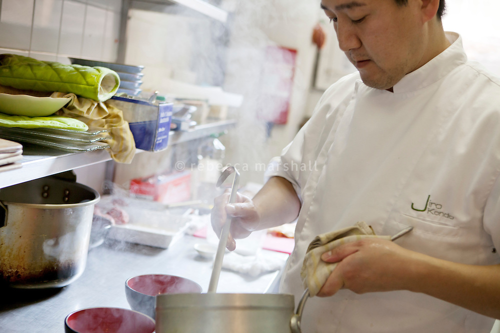 Chef Jiro Kondo preparing dishes at the Saison restaurant, Rue Gubernatis, Nice, France 30 November 2011