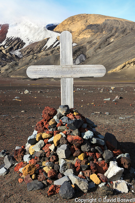 A grave marker for a Norwegian whaler is one the remnants of the abandoned whaling base in Whalers Bay, Deception Island in the South Shetland Islands near the Antarctic Peninsula.