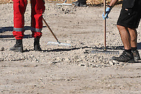 Pictured: Special forensics police officers search a field in Kos, Greece. Tuesday 27 September 2016<br /> Re: Police teams searching for missing toddler Ben Needham on the Greek island of Kos have said they are &quot;optimistic&quot; about new excavation work.<br /> Ben, from Sheffield, was 21 months old when he disappeared on 24 July 1991 during a family holiday.<br /> Digging has begun at a new site after a fresh line of inquiry suggested he could have been crushed by a digger.<br /> South Yorkshire Police (SYP) said it continued to keep an &quot;open mind&quot; about what happened to Ben.