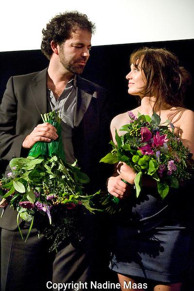 The Netherlands, Utrecht, 28 September 2011. .Nederlands Film Festival.Photo: Nadine Maas.Dankwoord na premiere Eileen met cast en crew.Hanro Smitsman en Sophie van Winden