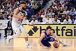 Real Madrid's Jeffery Taylor and Anadolu Efes's Thomas Heurtel during Turkish Airlines Euroleague match between Real Madrid and Anadolu Efes at Wizink Center in Madrid, April 07, 2017. Spain.<br /> (ALTERPHOTOS/BorjaB.Hojas)