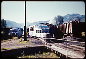 RGS Goose #7 at turntable at Ridgway. A second Goose (#3, #4 or #5) is at left. Leased DRGW #452 is hot on the coaling track with a full tender headed south.<br /> RGS  Ridgway, CO  ca. 1951