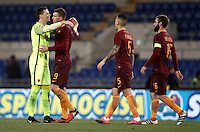 Calcio, Serie A: Roma vs Cagliari, Roma, stadio Olimpico, 22 gennaio 2017.<br /> From left Roma's goalkeeper Wojciech Szczesny, Edin Dzeko, Leandro Paredes, and Daniele De Rossi celebrate after winning the Italian Serie A football match between Roma and Cagliari at Rome's Olympic stadium, 22 January 2017. <br /> UPDATE IMAGES PRESS/Isabella Bonotto