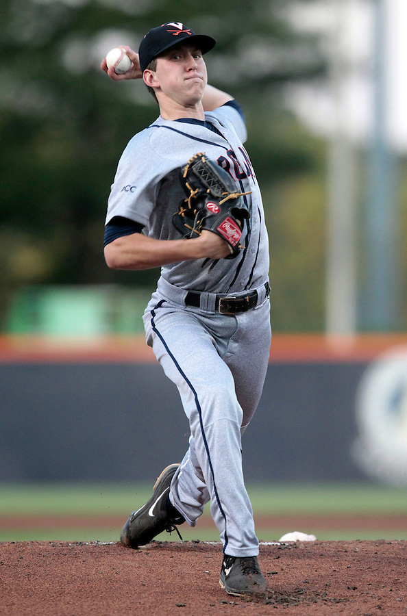 Virginia pitcher Brandon Waddell (20) throw the ball in the first inning during an NCAA college baseball regional tournament game against Arkansas in Charlottesville, VA., Friday, June 1, 2014. (Photo/Andrew Shurtleff)