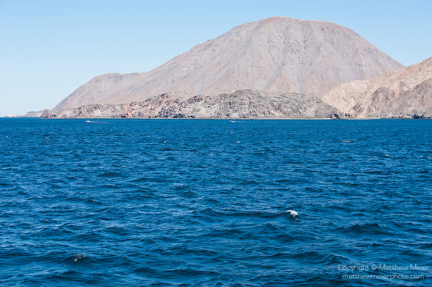 Sea of Cortez, Baja California, Mexico; the volcanic shoreline along Bahia de los Angeles (Los Angeles Bay)